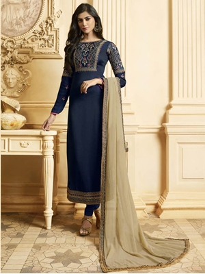 Picture of Z805 Silk Georgette Straight Suit