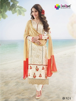 Picture of 824Ivory and Red Satin Cotton Party Wear Long Straight Suit