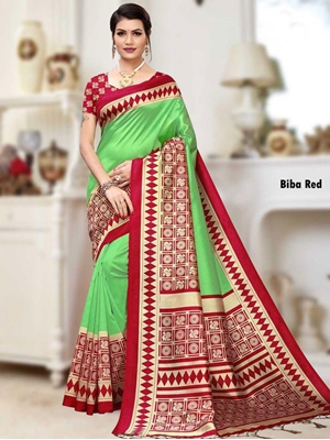 Picture of BibaRed Banarasi Art Silk Saree Collection