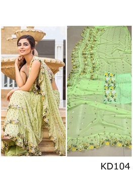 Picture of 104 Pista Green Designer Ruffle Saree