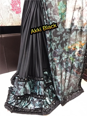 Picture of AkkiBlack Designer Ruffle Saree Collection