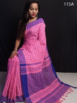 Picture of 115A Handloom Cotton Checks Saree Collection