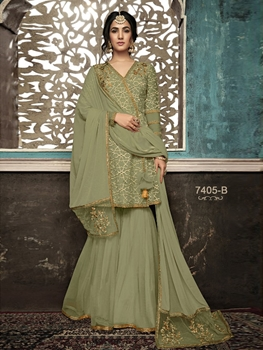 Picture of 7405B Designer Plazo Suit Collection