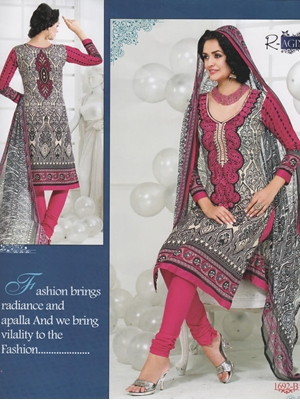 Picture of 1692B Black and White Cotton Salwar Suit