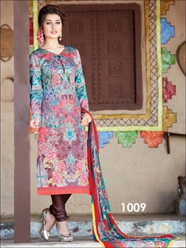 Picture of 1009Multicolored and Brown Straight Suit