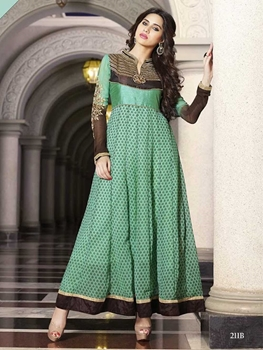 Picture of 211B Black and Green Georgette Anarkali Suit