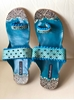 Picture of Blue Beaded Kolhapuri Leather Chappals