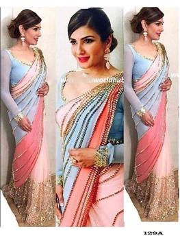 Picture of 129A Designer Georgette With Net  Saree Collection