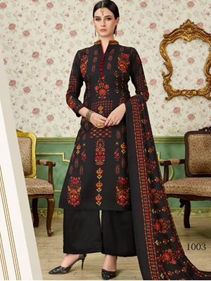 Picture of 1003 Black Printed Pashmina Plazo Suit