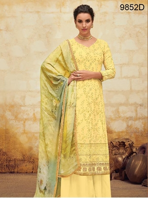Picture of 9852D Designer Plazo Suit Collection