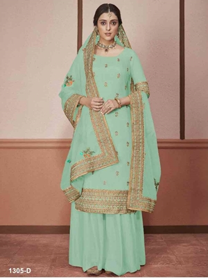 Picture of 1305D Plazo Suit With Heavy Dupatta Collection