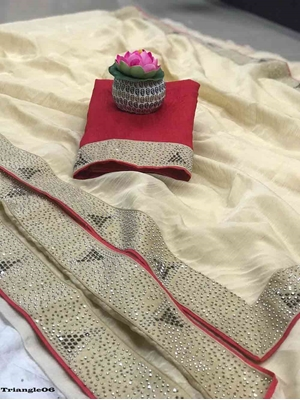 Picture of Organza Triangle Hot Fix Saree Collection