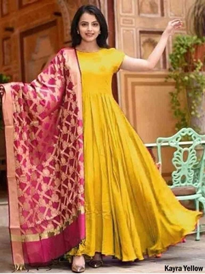 Picture of Kayra Long Rayon Gown With Banarasi Jacquard Dupatta