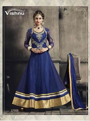 Picture of 57008 BLUE AND GOLDEN DESIGNER ANARKALI SUIT