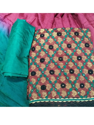 Picture of Rajbhog1580 Maroon And Green Chanderi Salwar Suit