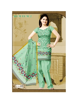 Picture of 509PaleGreen Karachi Cotton Dress Material
