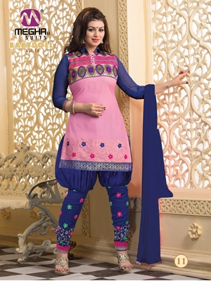 Picture of BabyDoll1011HotPink and DarkRoyalBlue Cotton Patiyala Suit