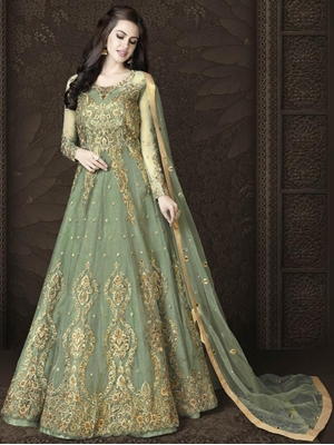 Picture of Butterfly Net Heavy Embroidery And Diamonds Designer Suit Collection