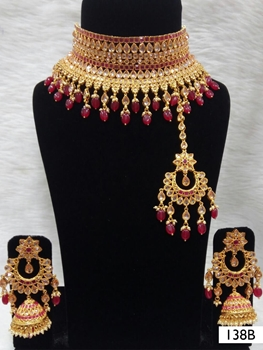 Picture of 138B Maroon Bridal Wear Necklace Set With Maang Tika