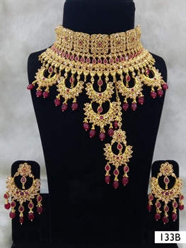 Picture of 133B Maroon Bridal Wear Necklace Set With Maang Tika