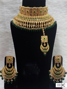 Picture of 113C Green Bridal Wear Necklace Set With Maang Tika