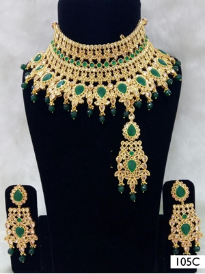 Picture of 105C Green Pearl Bridal Wear Necklace Set With Maang Tika