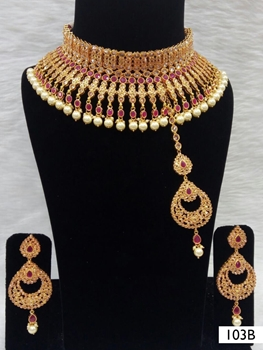 Picture of 103B Maroon Bridal Wear Necklace Set With Maang Tika
