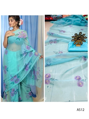 Picture of AS12 Digital Printed Organza Silk Saree