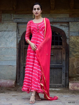 Picture of Designer Printed Holi Special Anarkali Style Gown