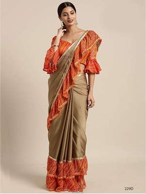 Picture of 229D Ruffle Border With Bandhani Print Saree