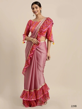 Picture of 229B Ruffle Border With Bandhani Print Saree