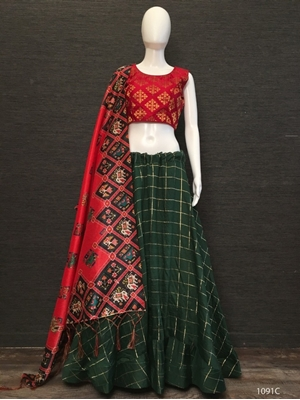Picture of 1091C Cotton Chex Lehenga Choli