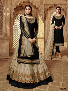 Picture of 3907A Designer 2 In 1 Sharara Suit