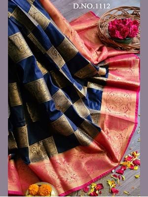 Picture of Navy Blue Nylon Silk Rich pallu Traditional Saree