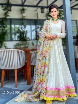 Picture of Off White Designer Anarkali Gown With Dupatta