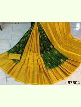Picture of 67604 Nylon Silk Patli Pallu Saree