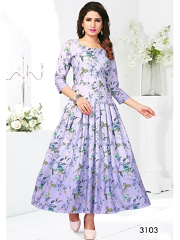 Picture of 3103 Party Wear Rayon Gown With Digital Print