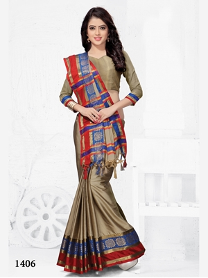 Picture of 1406 Party Wear Cotton Silk Saree With Handloom Cotton Print