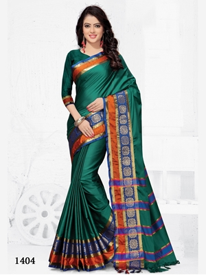 Picture of 1404 Party Wear Cotton Silk Saree With Handloom Cotton Print