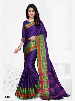 Picture of 1401 Party Wear Cotton Silk Saree With Handloom Cotton Print