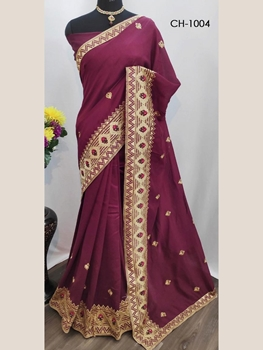 Picture of CH1004 Embroidered Silk Saree